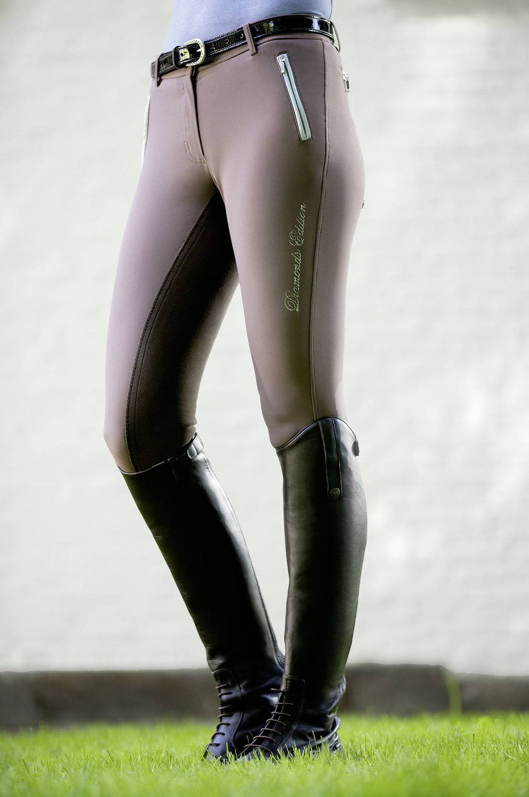 Riding Breeches -Diamonds LIZ Milky- 3/4 Alos seat