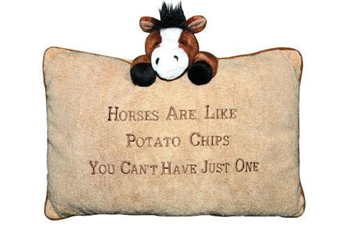 Cosy cushion -Horses are like Potatochips-