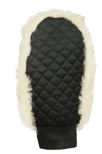 Real lambswool grooming glove lambswool one side