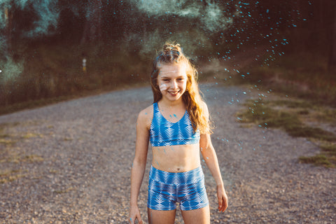 Blue tribal running crop and shorts