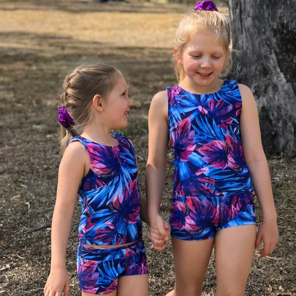 Pretty jungle set for girls 4-12yrs Bright jungle Little IMPI tank top open back for girls running gymnastics activewear for girls tank tops