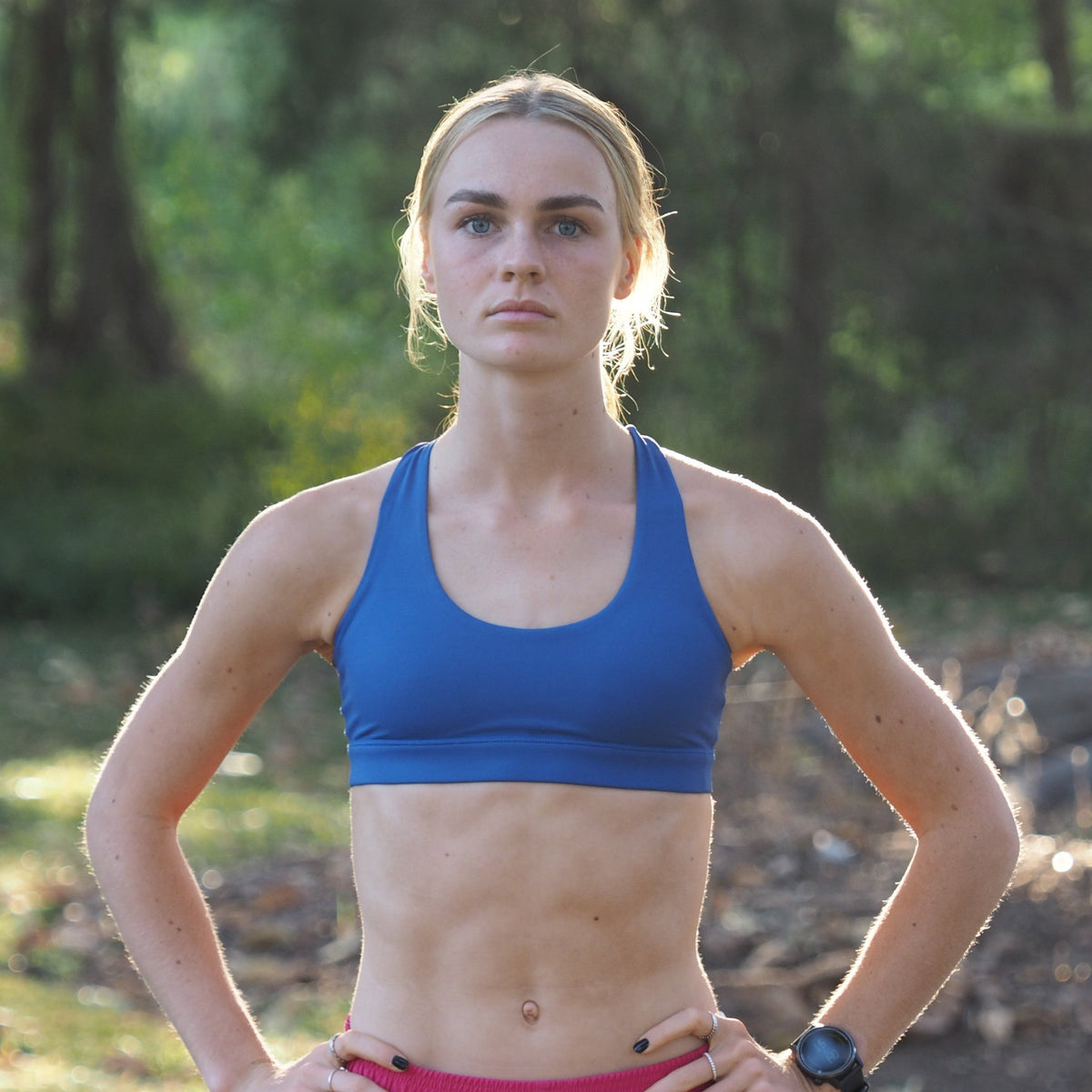 Lucinda Double Strap IMPI Running Bra Top - Atlantic Blue
