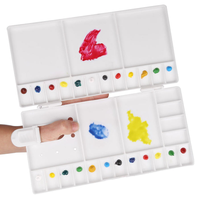Transon Large Paint Palette Box 33 Wells for Watercolor,Gouache, Acrylic and Oil Paint with 1 Paint Brush