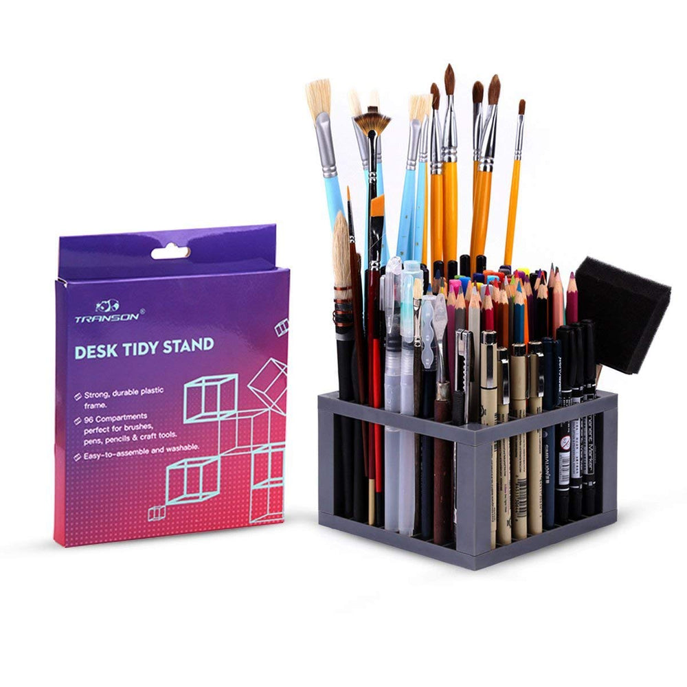 Transon Pen Brush Holder Organizer for Pencils, Paint Brushes, Markers, with 96 Slots