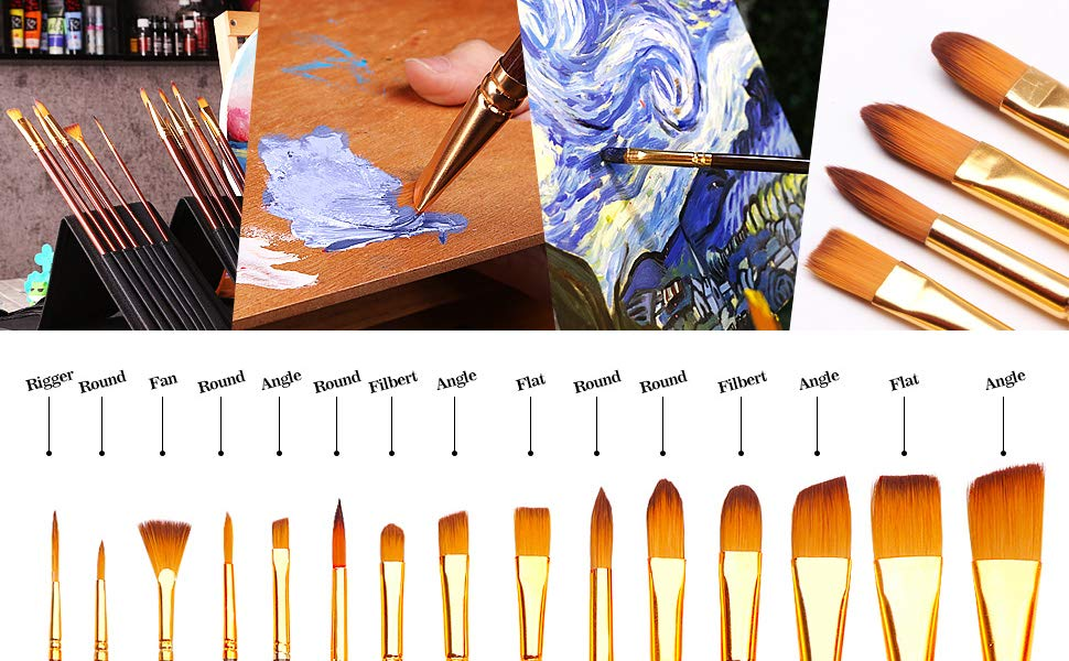 Wooden Handle Artist Art Drawing Oil Painting Pen Paint Brushes 6 in 1