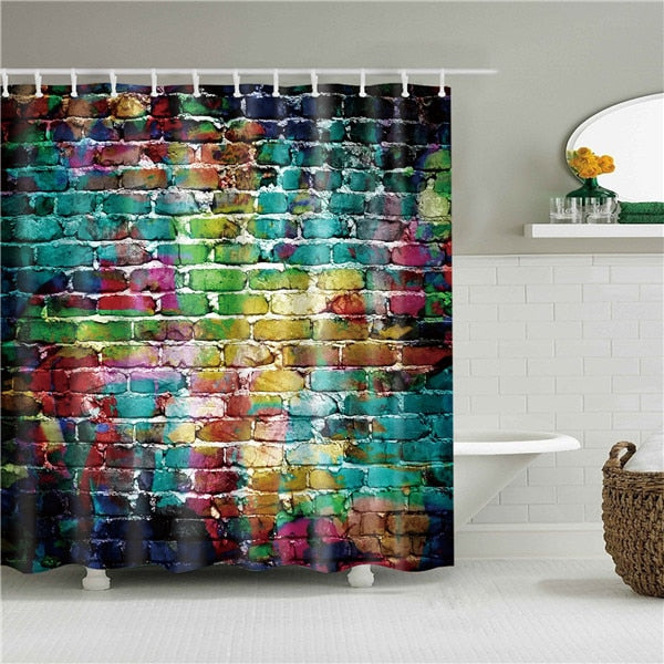 Painted Brick Wall Fabric Shower Curtain