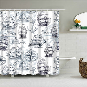 Nautical Print Fabric Shower Curtain