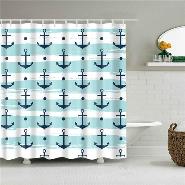 Anchor Print Fabric Shower Curtain