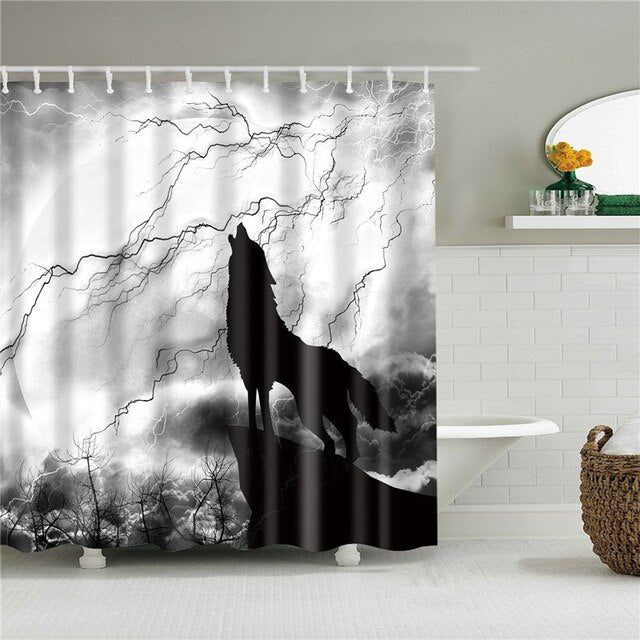 Howling Wolf Fabric Shower Curtain