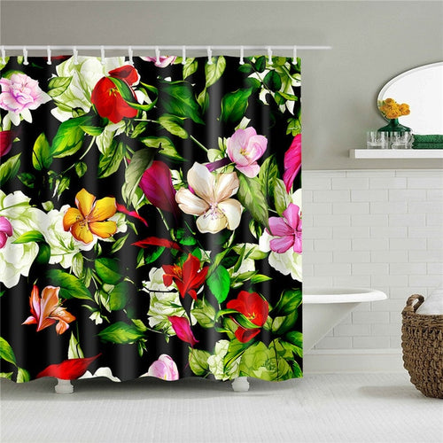 Tropical Jungle Flowers Fabric Shower Curtain