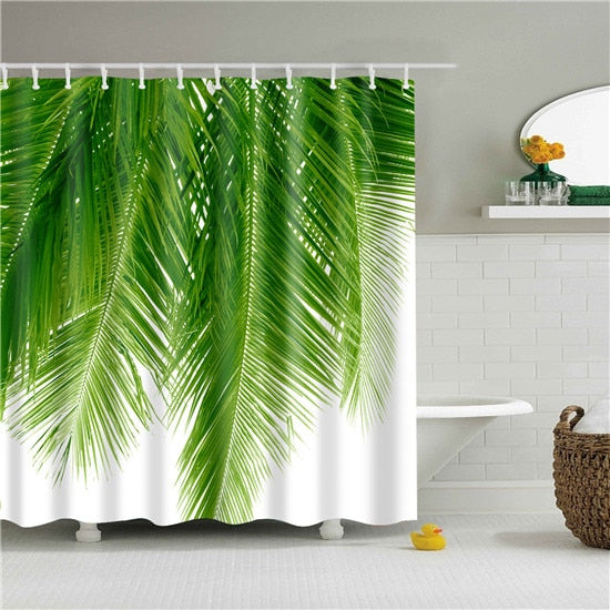 Palm Frond Fabric Shower Curtain