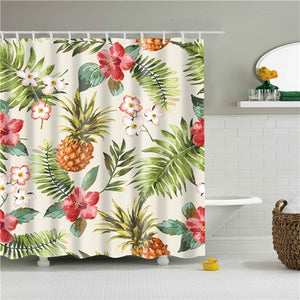Pineapple Palm Fabric Shower Curtain