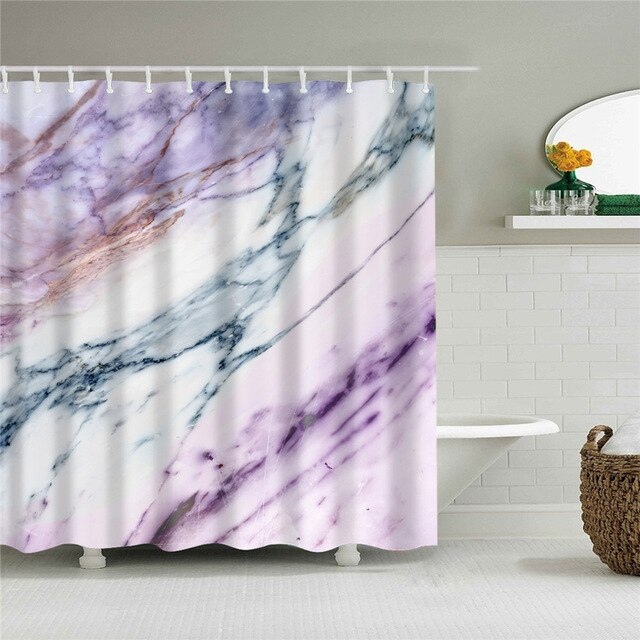 Purple Marble Fabric Shower Curtain