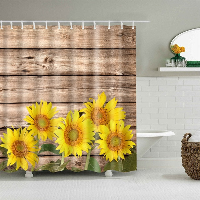 Rustic Sunflowers Fabric Shower Curtain
