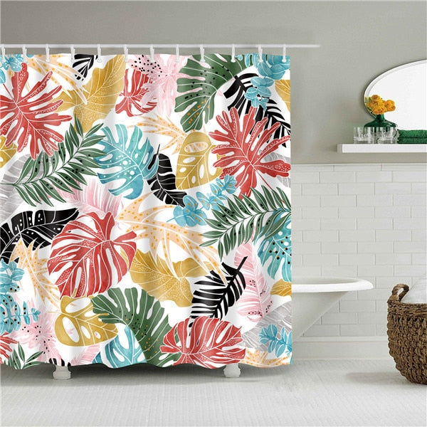 Bright Palms Fabric Shower Curtain
