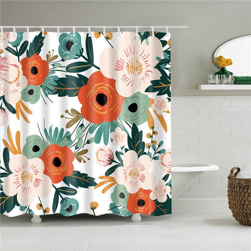 Morning Flowers Fabric Shower Curtain