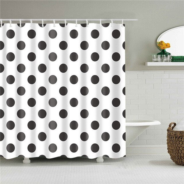 Polka Dot Fabric Shower Curtain
