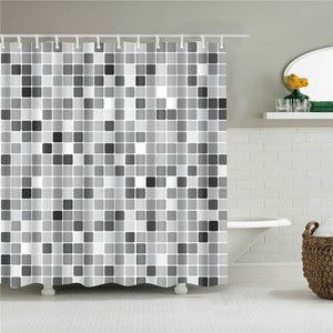 Grey Tile Fabric Shower Curtain