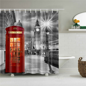 Red Phone Booth Fabric Shower Curtain