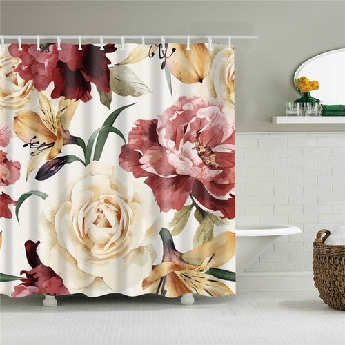 Large Floral Print Fabric Shower Curtain