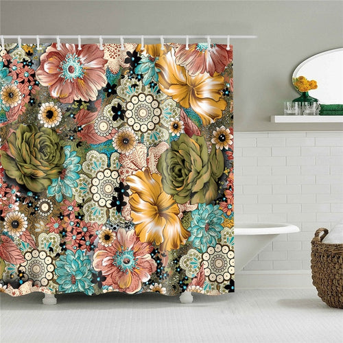 Victorian Flowers Fabric Shower Curtain
