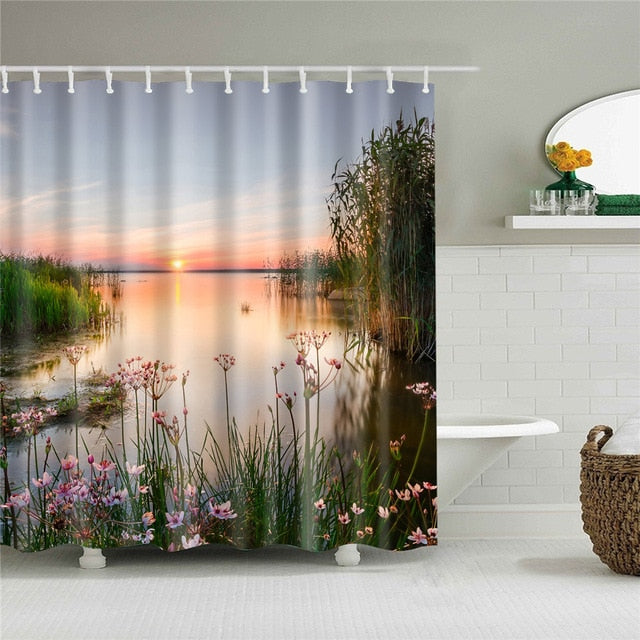 Peaceful Lake Fabric Shower Curtain