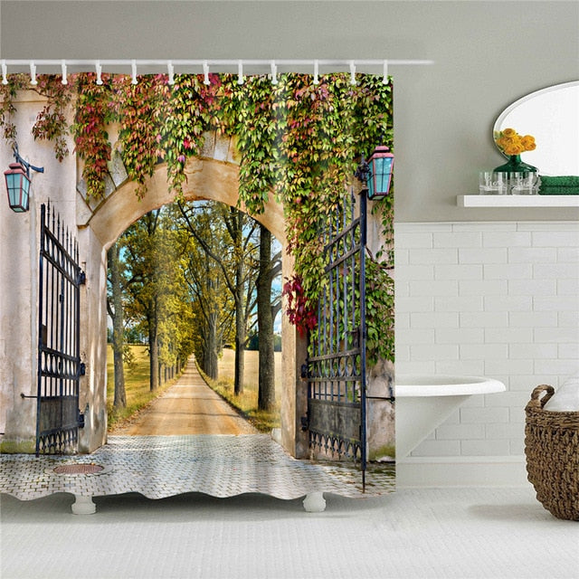 Pretty Pathway Entrance Fabric Shower Curtain