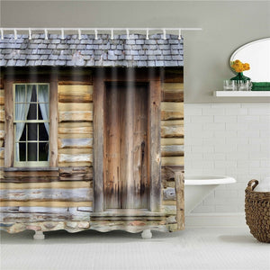 Log Cabin Fabric Shower Curtain