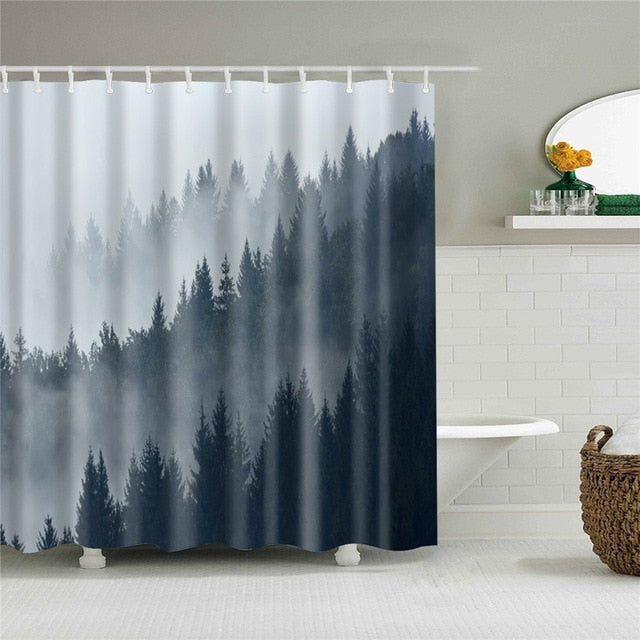 Shadow Mountain Fabric Shower Curtain