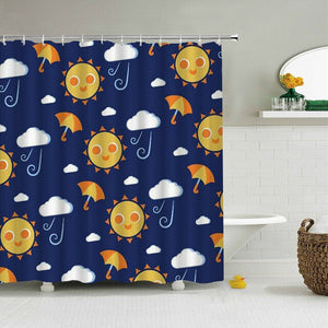 Sun Clouds Fabric Shower Curtain