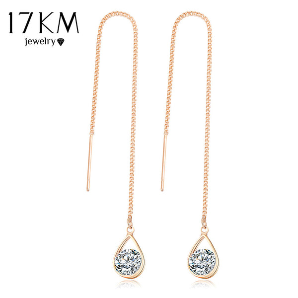 17KM Fashion Crystal Water Drop Earrings for Women Wedding Punk Star Moon Long Tassel Dangle Earring Bar Statement Jewelry 2018 - Wel Bell