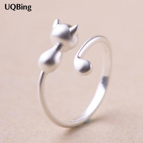 2018 Free Shipping 925 Sterling Silver Cat Rings For Women Jewelry Beautiful Finger Open Rings For Party Birthday Gift - Wel Bell