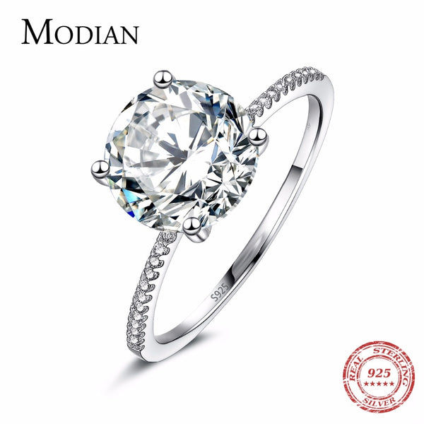 2018 Classic Luxury Real Solid 925 Sterling Silver Ring 3Ct 10 Hearts Arrows Zircon Wedding Jewelry Rings Engagement For Women - Wel Bell