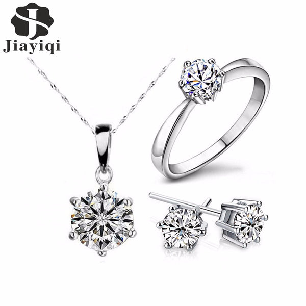 2018 Hot Sale Silver Color Fashion Jewelry Sets Cubic Zircon Statement Necklace & Earrings Rings Wedding Jewelry for Women Gift - Wel Bell