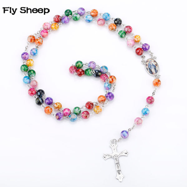 2018 New Arrival Virgin Mary Religious Rosary Necklace 8mm Colorful Acrylic Beaded Women Cross Pendant Necklace Cathlic Jewelry - Wel Bell