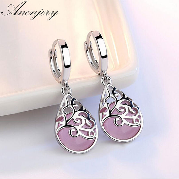 Anenjery 925 Sterling Silver Moonlight Opal Tears Totem Drop Earrings Gift pendientes oorbellen boucle d'oreille femmes S-E321 - Wel Bell