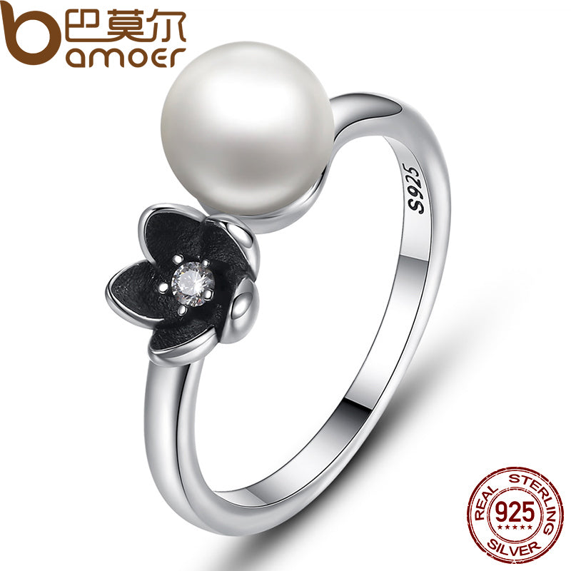 BAMOER Brand New Collection 925 Sterling Silver Mystic Floral Stackable Ring, Pearl & Black Enamel Ring Jewelry PA7157 - Wel Bell