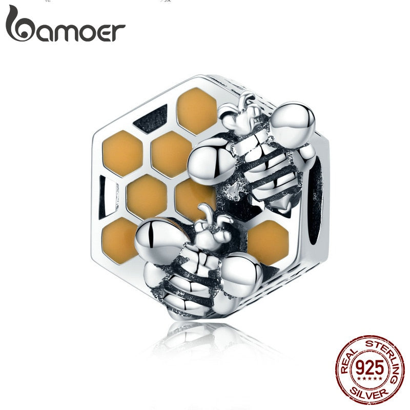 BAMOER New Collection 925 Sterling Silver Honeycomb Honey Bee Square Charm Beads fit Women Bracelet DIY Jewelry Making SCC500 - Wel Bell
