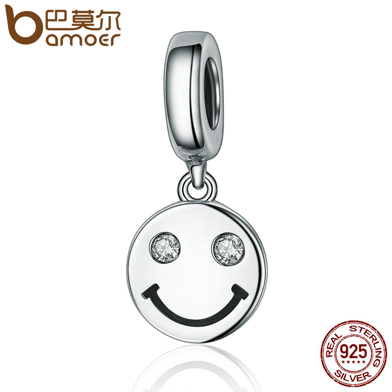 BAMOER New Collection 925 Sterling Silver Smile Face Letter Pave Dangle Charms fit Women Charm Bracelets Jewelry Gift SCC258 - Wel Bell