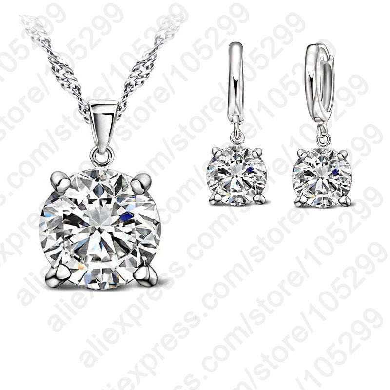 JEXXI 925 Sterling Silver Jewelry Sets 4 Claws Cubic Zirconia CZ Pendant Necklace Earring Fashion Jewelry For Women SET - Wel Bell