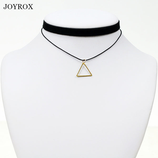 Geometric Pendant Choker Necklace - Wel Bell