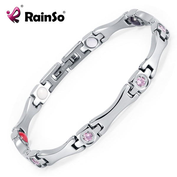 Rainso Elegant Stainless Steel Energy Health Magnetic Bracelet with Magnet Rhinestones Friendship Love Bracelets for Woman - Wel Bell