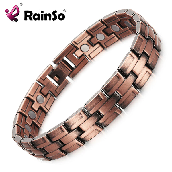 RainSo Copper Bracelets with Magnet for Men Women Arthritis Pain Relief Bronze Color High Quality Luxury Magnetic Bracelet - Wel Bell