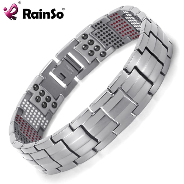 Rainso Men Jewelry Healing magnetic Bangle Balance Health Bracelet Silver Titanium Bracelets Special Design for Male - Wel Bell