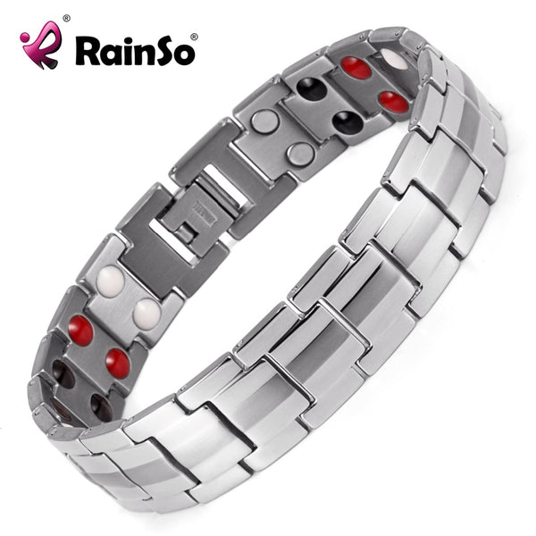 Rainso Men's Double Row 4 Elements Health Care Magnetic Bracelet Silver Stainless Steel Therapy Bangles Best Gift OSB-1537S - Wel Bell