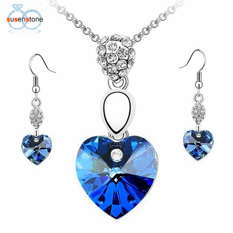 SUSENSTONE Girl Women Rhinestone Crystal Necklace Earring Jewelry Set