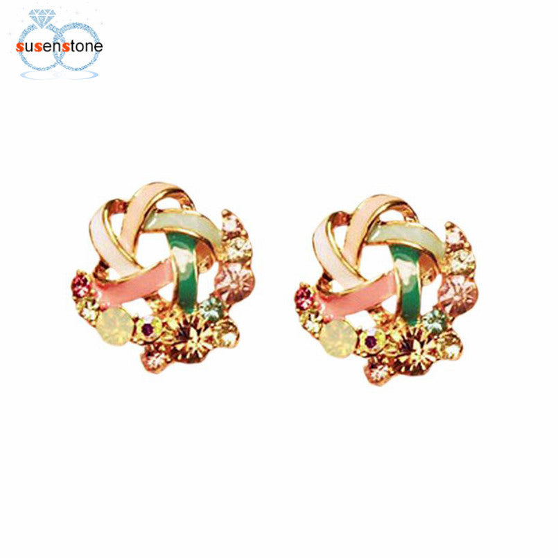 SUSENSTONE Women Luxury of Elegant Temperament Distorted Mode Color Rhinestone Earrings