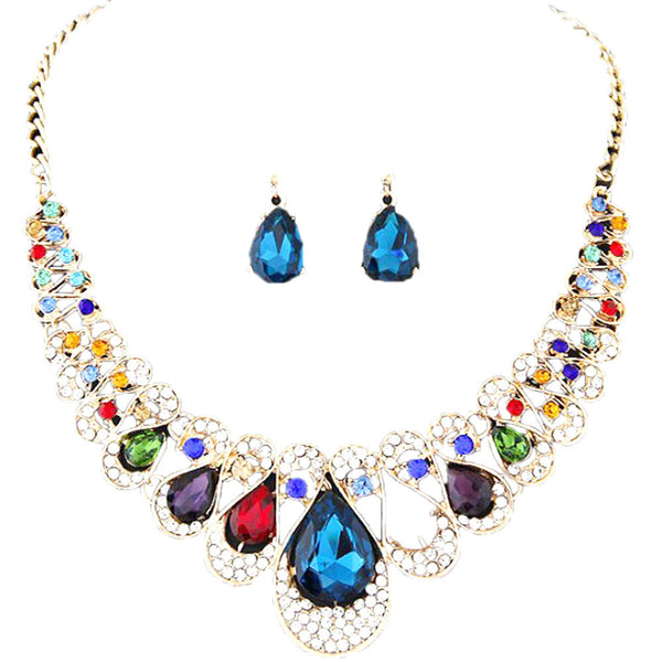 Womens  Metal flash drill collar necklace earring set Mixed Style Bohemia color Bib Chain Necklace Earrings Jewelry #40
