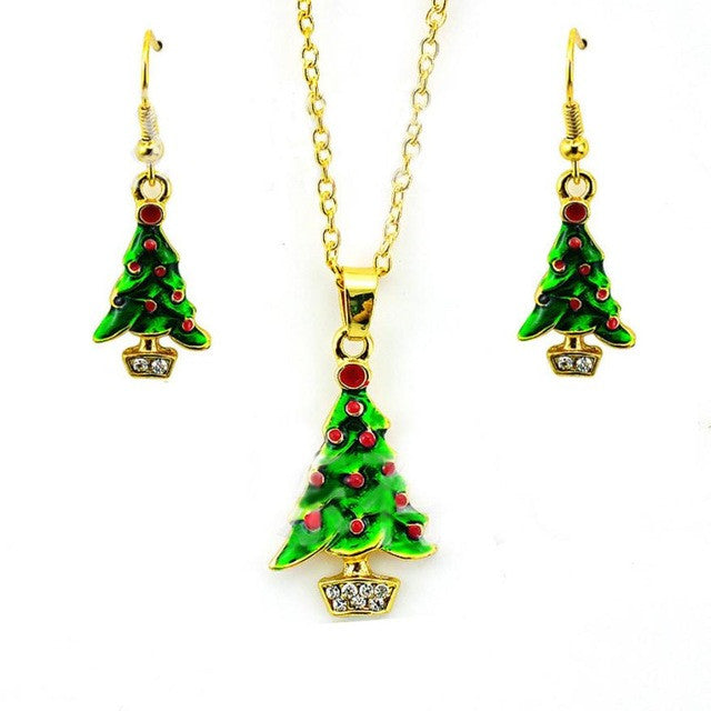 Fashion Green Enamel Christmas Tree Necklace Earring Sets Women's Fashion Long Earrings Necklace set Christmas stocking #45 - Wel Bell