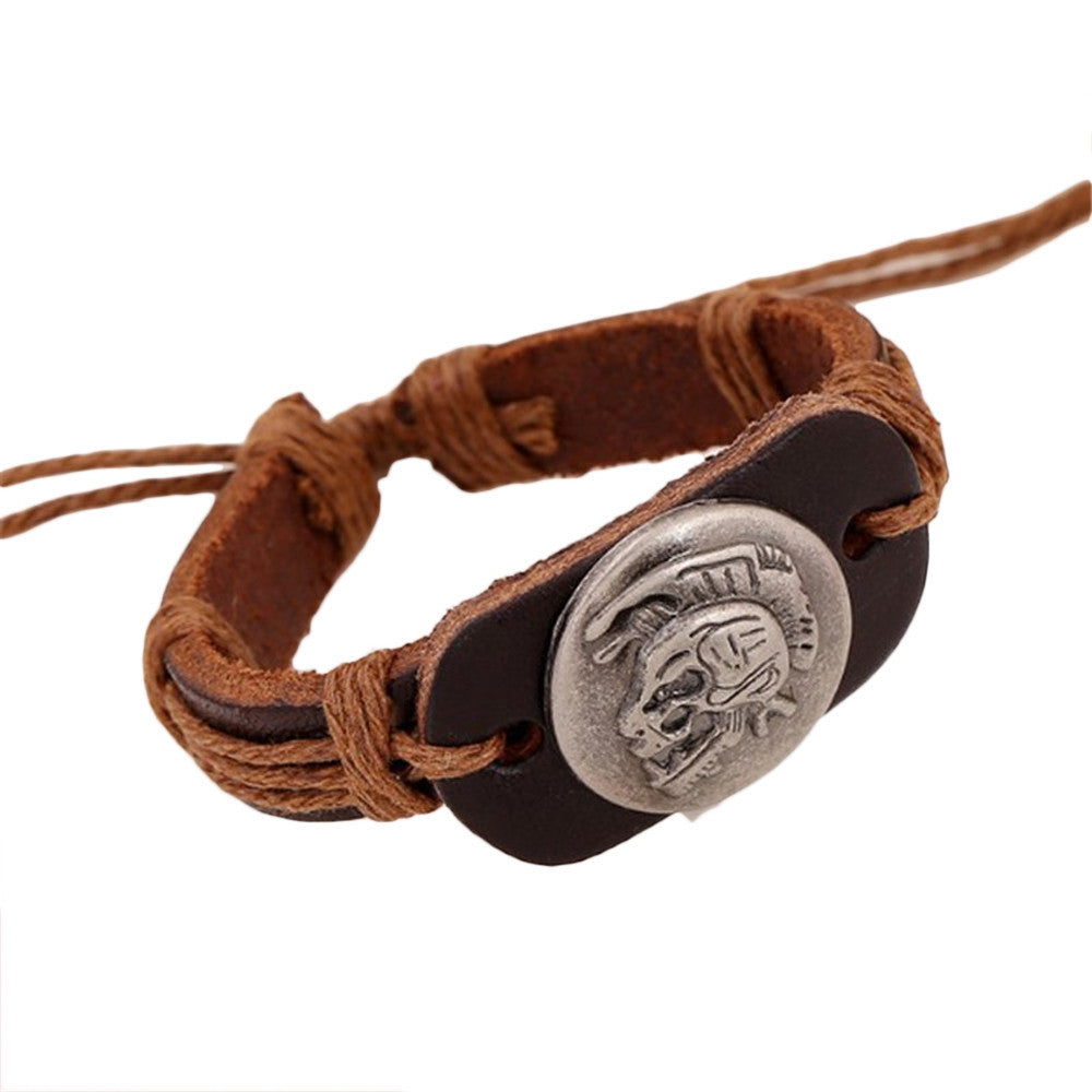 Skull Heads Leather Mens Bracelet & Bangles Jewelry - Wel Bell